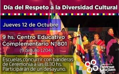 Este jueves se realizará el acto por el Día del Respeto a la Diversidad Cultural