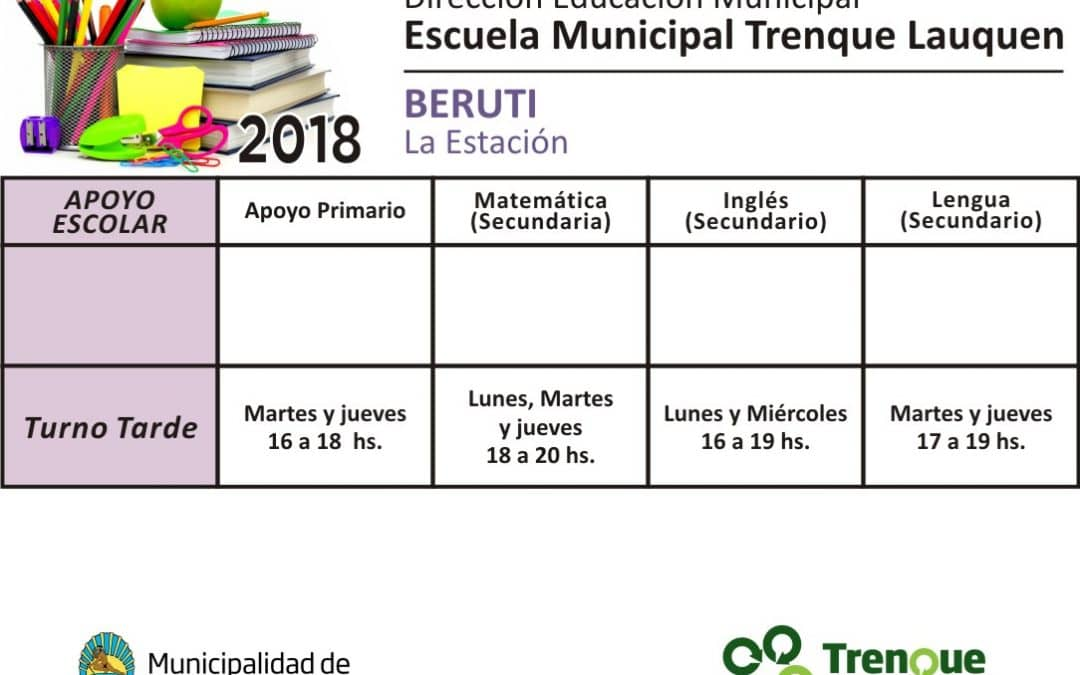 Horarios de Apoyo escolar de la Escuela Municipal de Beruti