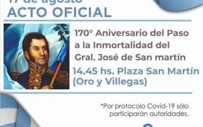 EL PRÓXIMO LUNES SE REALIZARÁ EL ACTO OFICIAL POR EL 170º ANIVERSARIO DEL PASO A LA INMORTALIDAD DEL GENERAL SAN MARTÍN