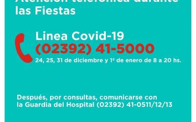 LA LÍNEA TELEFÓNICA EXCLUSIVA COVID-19 ATENDERÁ DE 8 A 20 DURANTE LAS FIESTAS DEL JUEVES 31 DE DICIEMBRE Y VIERNES 1º DE ENERO