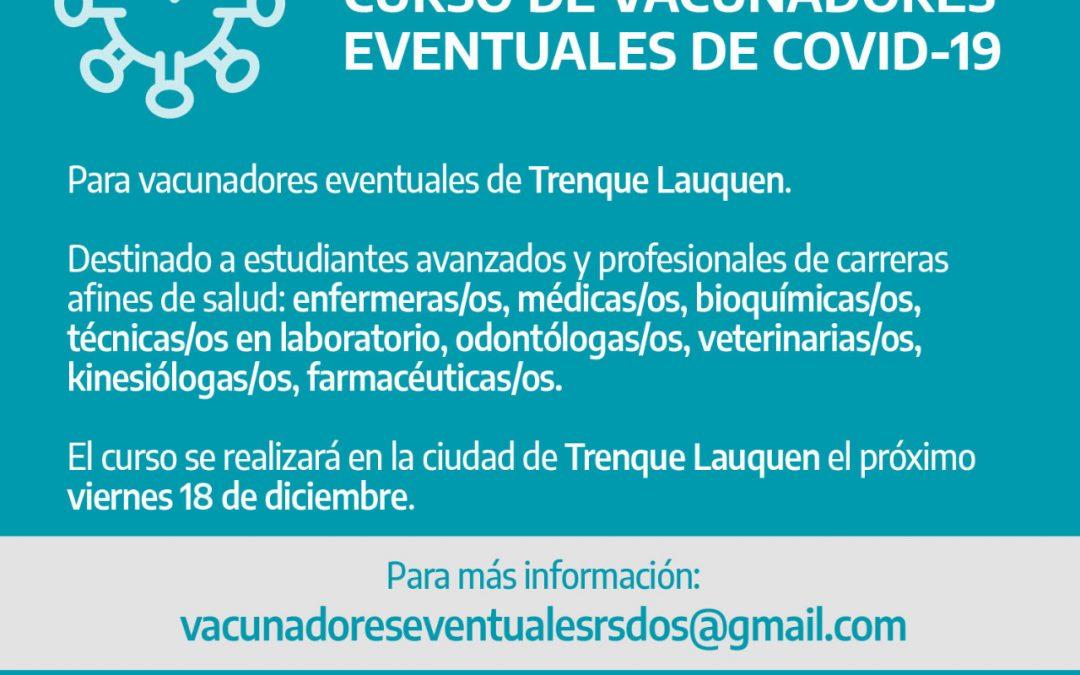 ESTE VIERNES (18) SE REALIZARÁ EL CURSO DE VACUNADORES EVENTUALES DE COVID-19, DESTINADO A ESTUDIANTES Y PROFESIONALES DE LA SALUD