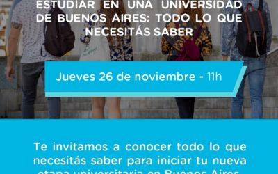 ESTUDIO EN BA: INVITAN A JÓVENES QUE QUIERAN ESTUDIAR EN BUENOS AIRES A UN ENCUENTRO VIRTUAL INFORMATIVO A REALIZARSE EL PRÓXIMO JUEVES 26