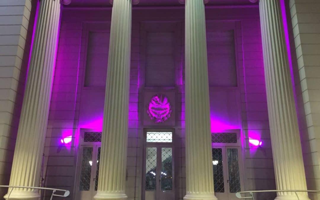 En el día del Síndrome de Hunter el Municipio se iluminó de violeta