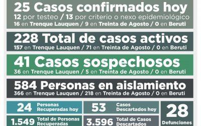 COVID-19: LOS CASOS ACTIVOS SON 228, LUEGO DE CONFIRMARSE 25 NUEVOS CASOS Y RECUPERARSE OTRAS 24 PERSONAS