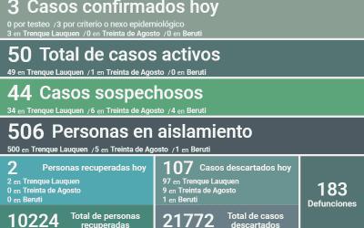 COVID-19: CON TRES NUEVOS CASOS CONFIRMADOS, DOS DECESOS Y OTRAS DOS PERSONAS RECUPERADAS, LOS CASOS ACTIVOS SON 50