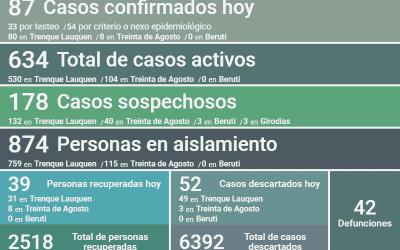 COVID-19: CON 87 NUEVOS CASOS CONFIRMADOS Y 39 PERSONAS RECUPERADAS MÁS, EL NÚMERO DE CASOS ACTIVOS SUBIÓ A 634