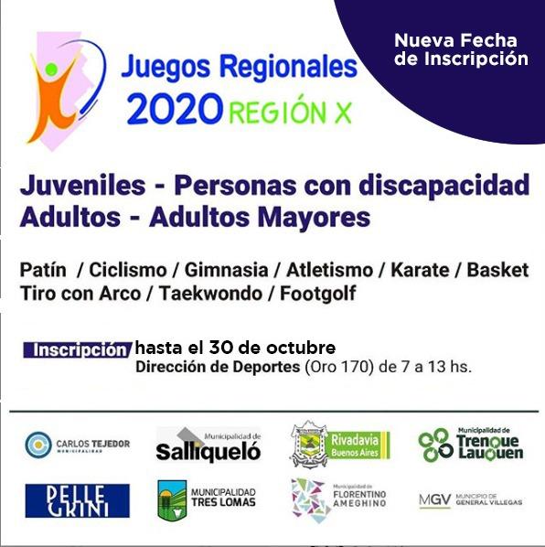 JUEGOS REGIONALES 2020: LA INSCRIPCIÓN SE PRORROGÓ HASTA EL PRÓXIMO VIERNES 30