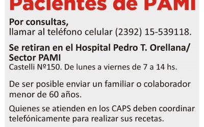 LAS RECETAS DE PAMI SE RETIRAN DEL HOSPITAL MUNICIPAL DE LUNES A VIERNES DE 7 A 14
