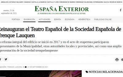 LA REINAUGURACIÓN DEL TEATRO ESPAÑOL TUVO AMPLIA REPERCUSIÓN EN MEDIOS DE COMUNICACIÓN DE LAS COMUNIDADES ESPAÑOLAS EN EL MUNDO