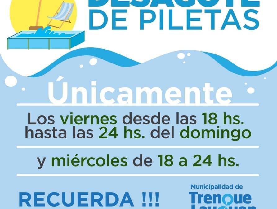 DIAS Y HORARIOS PARA DESAGOTAR LAS PILETAS DE NATACION