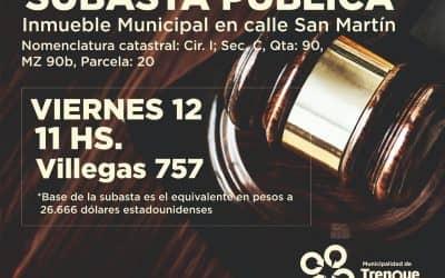 EL MUNICIPIO SUBASTARÁ PÚBLICAMENTE MAÑANA (VIERNES) UN LOTE DE SU PROPIEDAD UBICADO EN CALLE SAN MARTÍN