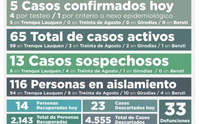 COVID-19: CON CINCO NUEVOS CASOS CONFIRMADOS Y LA RECUPERACIÓN DE 14 PERSONAS MÁS, LOS CASOS ACTIVOS AHORA BAJARON A 65