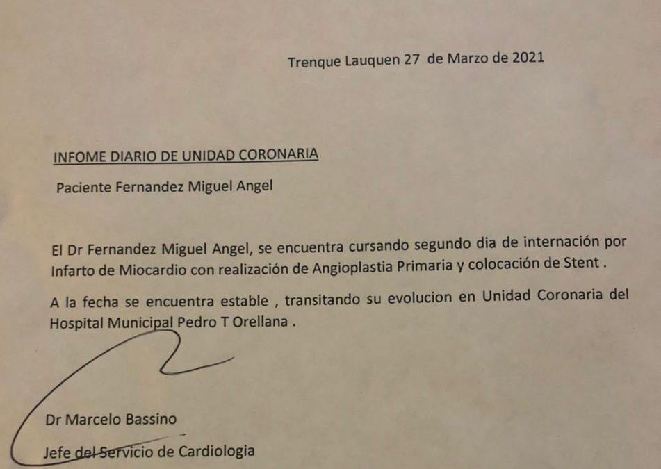 """EL INTENDENTE MIGUEL FERNÁNDEZ """"SE ENCUENTRA ESTABLE, TRANSITANDO SU EVOLUCIÓN EN UNIDAD CORONARIA"""""""