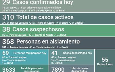 COVID-19: CON 29 NUEVOS CASOS CONFIRMADOS Y 69 PERSONAS MÁS RECUPERADAS, HOY LOS CASOS ACTIVOS SON 310