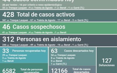 SON 428 LOS CASOS ACTIVOS DE COVID-19: FUERON CONFIRMADOS 44 NUEVOS CASOS, HUBO UN DECESO Y SE RECUPERARON 33 PERSONAS MÁS