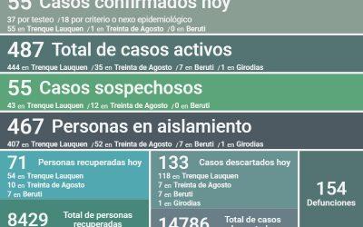COVID-19: SON 487 LOS CASOS ACTIVOS EN EL DISTRITO, TRAS CONFIRMARSE 55 NUEVOS CASOS, RECUPERARSE 71 PERSONAS Y DESCARTARSE 133 CASOS