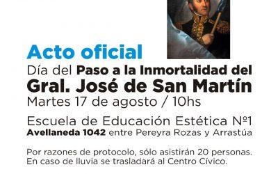 EL MARTES A LAS 10 SE HARÁ EL ACTO OFICIAL PARA CONMEMORAR EL DÍA DEL PASO A LA INMORTALIDAD DEL GENERAL JOSE DE SAN MARTÍN