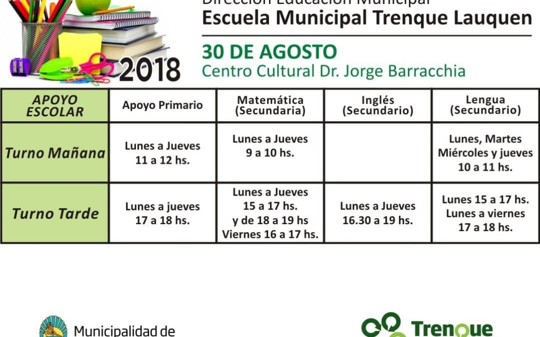 Clases de apoyo escolar en la Escuela Municipal de 30 de Agosto