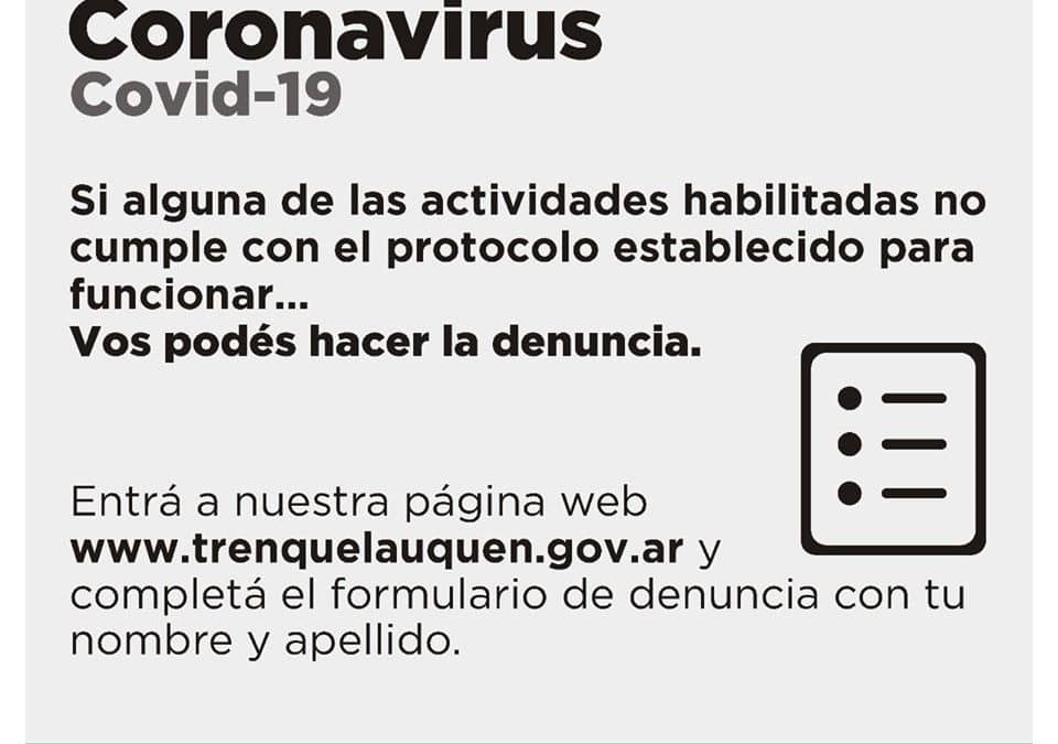 DÓNDE PODÉS DENUNCIAR EL INCUMPLIMIENTO DE LOS PROTOCOLOS FIJADOS PARA EL FUNCIONAMIENTO DE LAS ACTIVIDADES AUTORIZADAS