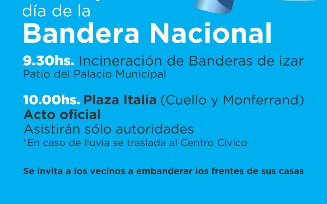 DÍA DE LA BANDERA: INCINERACIÓN DE BANDERAS DE IZAR EN EL PALACIO MUNICIPAL Y ACTO OFICIAL EN PLAZA ITALIA, EL PRÓXIMO DOMINGO