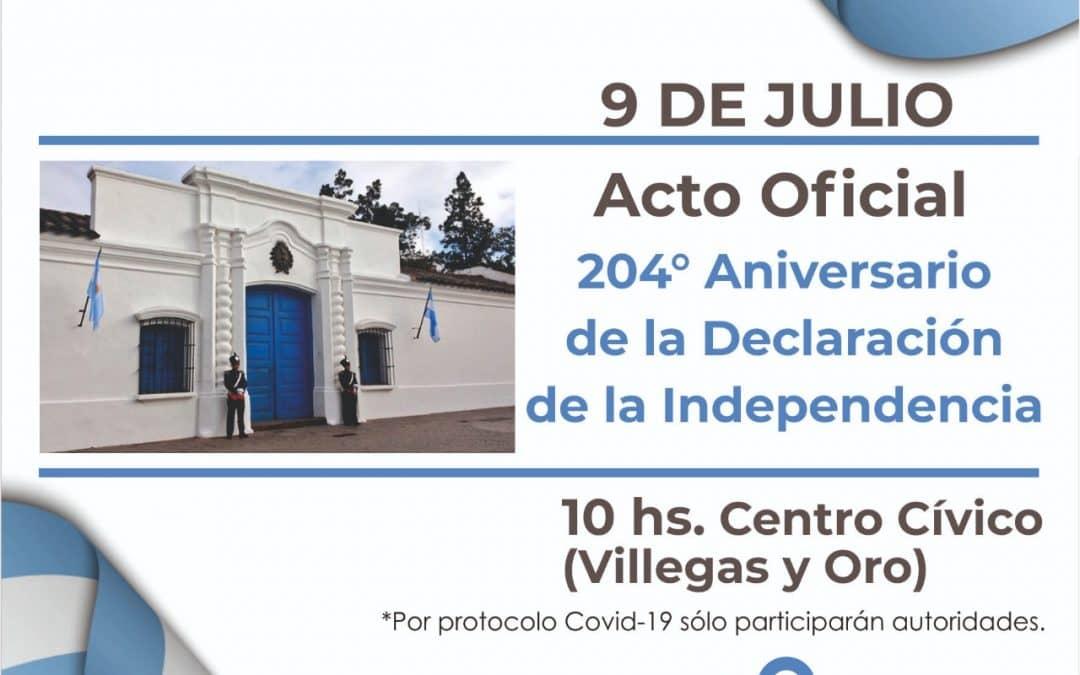 EL ACTO OFICIAL POR EL 204º ANIVERSARIO DE LA DECLARACIÓN DE LA INDEPENDENCIA SE HARÁ EL PRÓXIMO JUEVES A LAS 10HS.