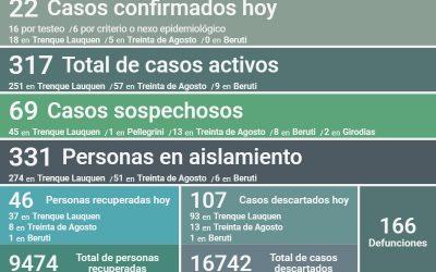 COVID-19: son 317 los casos activos en el distrito
