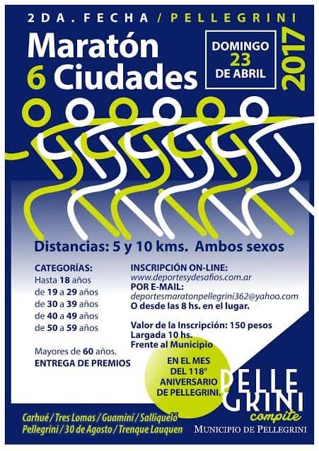 Maratón 6 ciudades: el 23 de abril se realizará en Pellegrini