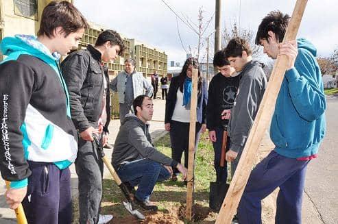Plantaron 10 árboles en la Escuela Técnica