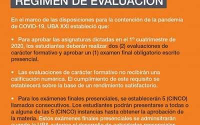 UBA XXI: CAMBIOS EN EL RÉGIMEN DE EVALUACIÓN PARA EL PRIMER CUATRIMESTRE