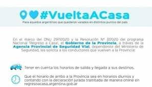"""DE VUELTA A CASA: HABILITAN UN REGISTRO PARA SOLICITAR EL """"CERTIFICADO PARA EL REGRESO AL DOMICILIO HABITUAL"""""""